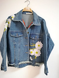 economico -moda donna manica lunga giacca denim denim. ricamo. allentato. giacca di jeans