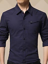 Masculino Camisa Social Diário Casual Inverno Outono,Sólido Algodão Colarinho de Camisa Manga Comprida Média