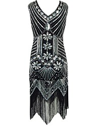 cheap -The Great Gatsby Vintage / 1920s Costume Women's Party Costume / Flapper Dress / Cocktail Dress Black / Red / Golden Vintage Cosplay Polyester Sleeveless Cold Shoulder Knee Length / Sequins
