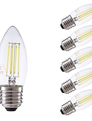 cheap -GMY® 6pcs 3.5W 400lm E27 LED Filament Bulbs C35 4 LED Beads COB Dimmable Decorative LED Light Cold White 220-240V