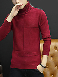 cheap -Men's Casual/Daily Simple Regular Pullover,Solid Turtleneck Long Sleeves Polyester Winter Opaque Micro-elastic