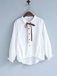 cheap -Women's Daily Vintage Blouse,Solid Round Neck Long Sleeve Cotton