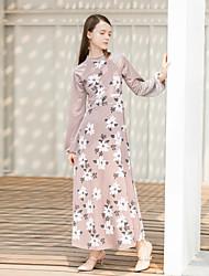 levne -Dámské Lantern rukáv Swing Šaty - Květinový Barevné bloky Maxi Vysoký pas