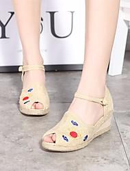 Недорогие -Жен. Обувь Ткань Весна Лето Удобная обувь Сандалии Туфли на танкетке Открытый мыс для Повседневные Бежевый