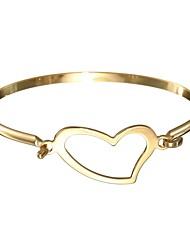 cheap -Women's Stainless Steel Lovely Heart Bangles - Basic Sweet Gold Silver Bracelet For Gift Valentine
