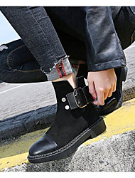 cheap -Women's Shoes Real Leather Nubuck leather Winter Fall Fashion Boots Boots Low Heel Mid-Calf Boots for Casual Black