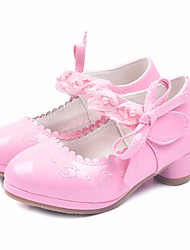 cheap -Girls' Shoes PU Spring Fall Tiny Heels for Teens Heels Hook & Loop for Casual Pink White