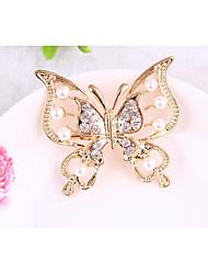 abordables -Mujer Broche Cristal Animales Legierung Mariposa Joyas Para Diario