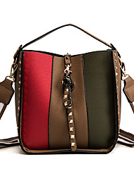cheap -Women Bags PU Shoulder Bag Buttons Sashes/ Ribbons Zipper for Outdoor Office & Career All Season Khaki Brown Black Green