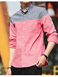 Недорогие -Для мужчин Повседневные Рубашка Рубашечный воротник,На каждый день Контрастных цветов Длинные рукава,Хлопок