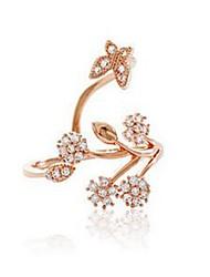 baratos -Mulheres Gema Imitações de Diamante / Liga Formato de Folha / Flor cuff Anel - 1 Clássico / Fashion Dourado Anel Para Diário