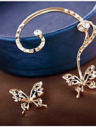 cheap -Women's Stud Earrings Ear Cuffs Metallic Sweet Imitation Diamond Alloy Butterfly Jewelry Gold Party Daily Costume Jewelry