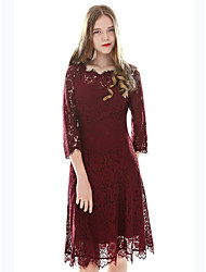 cheap -Women's Lace Swing Dress - Solid Colored Floral Geometric Lace High Waist