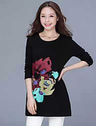 cheap -Women's Daily Street chic Winter Fall T-shirt,Solid Print Round Neck Long Sleeve Cotton Thick