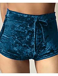 Feminino Vintage Cintura Média Micro-Elástica Shorts Calças,Sólido Poliéster Todas as Estações