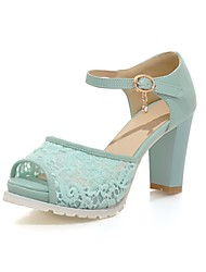 cheap -Women's Shoes Lace Leatherette Summer Mary Jane Sandals Chunky Heel Peep Toe Rhinestone Buckle for Wedding Party & Evening Pink Blue White