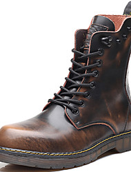 Pánské Obuv Nappa Leather Zima Podzim Motocyklová obuv Kotníčkové Obuv military styl Boty Kotníčkové pro Ležérní Černá Šedá Hnědá