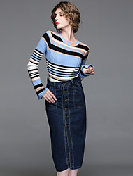 cheap -EWUS Women's Going out Casual/Daily Street chic Spring Fall Sweater Skirt Suits,Striped Crew Neck Long Sleeve Knitting Denim Cotton Polyester