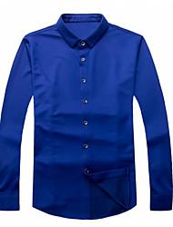 Masculino Camisa Social Casual Moda de Rua Todas as Estações,Sólido Algodão Colarinho de Camisa Manga Comprida Opaca