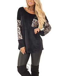 cheap -Women's Daily Holiday Street chic T-shirt,Leopard Round Neck Long Sleeve Polyester