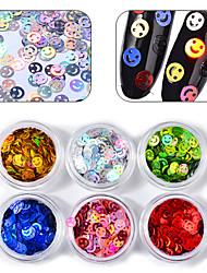economico -vestito a sei pezzi luccica paillettes multi-colored kit nail art drill
