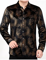 cheap -Men's Daily Vintage Winter Fall Shirt,Print Shirt Collar Long Sleeve Polyester Thick