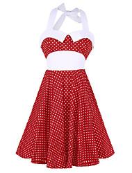 cheap -Women's Daily Vintage Boho Swing Dress,Polka Dot Halter Above Knee Sleeveless Cotton All Season Mid Rise Micro-elastic Opaque