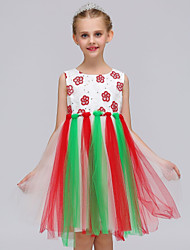 cheap -Girl's Christmas Holiday Color Block Dress,Polyester Summer Sleeveless Simple Cute Princess Blushing Pink Rainbow