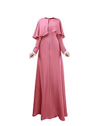 abordables -Ethnique et Religieux Jalabiya Abaya Robe Arabe Femme Fête / Célébration Déguisement d'Halloween Bleu Rose Vert foncé Couleur Pleine