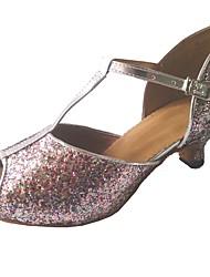 baratos -Mulheres Sapatos de Dança Latina Glitter Sandália Interior Salto Personalizado Personalizável Sapatos de Dança Arco-íris