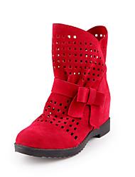 baratos -Mulheres Sapatos Flanelado Inverno Outono Botas da Moda Curta/Ankle Botas Sem Salto Ponta Redonda Botas Curtas / Ankle Botas Cano Médio