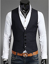 cheap -Men's Daily Casual Fall Vest,Solid V Neck Sleeveless Regular Others
