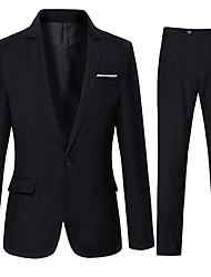 cheap -Men's Daily Casual Fall Suits,Solid Shirt Collar Long Sleeve Regular Cotton Polyester