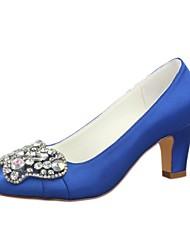 preiswerte -Damen Schuhe Stretch - Satin Frühling Herbst Pumps Hochzeit Schuhe Blockabsatz Runde Zehe Kristall für Kleid Party & Festivität Rot