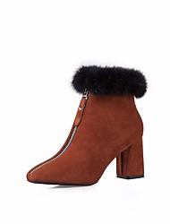 abordables -Mujer Zapatos Aterciopelado Invierno Otoño Botas de Combate Botas Tacón Cuadrado Dedo cuadrada Botines/Hasta el Tobillo Pluma para Casual