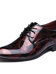 cheap -Men's Formal Shoes Microfiber Spring / Fall Fashion Boots / Formal Shoes Oxfords Walking Shoes Black / Red / Blue / Wedding / Party & Evening / Printed Oxfords
