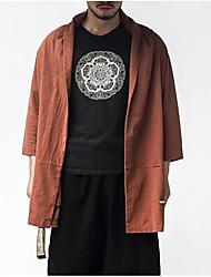 メンズ お出かけ カジュアル/普段着 冬 秋 コート,ストリートファッション スタンド ソリッド レギュラー コットン 長袖