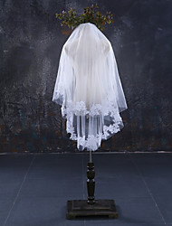 cheap -Two-tier Lace Applique Edge Bridal Wedding Wedding Veil Fingertip Veils 53 Lace Lace Tulle