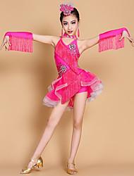 baratos -Dança Latina Vestidos Crianças Apresentação Elastano Franja(s) Sem Mangas Natural Vestidos