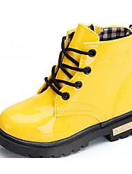 cheap -Girls' Shoes Patent Leather Fall Winter Snow Boots Comfort Boots Walking Shoes Booties/Ankle Boots Lace-up Zipper for Casual Black Yellow