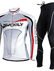 economico -Nuckily Maglia con pantaloni da ciclismo Per uomo Manica lunga Bicicletta Set di vestiti Tenere al caldo Resistente ai raggi UV