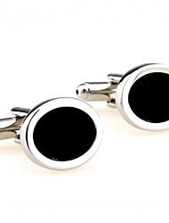 baratos -Formato Circular Preto Botões de Punho Liga Simples Clássico Fashion Festa Presente Negócio/Cerimônia/Casamento Trabalho Homens Jóias de