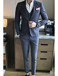 Masculino Ternos/Conjuntos Wear to work Trabalho Simples Primavera Outono,Sólido Padrão Algodão Notch/ Paletó Manga Longa
