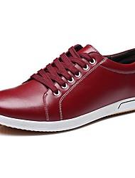 Недорогие -Муж. обувь Кожа Весна / Осень Удобная обувь Туфли на шнуровке Черный / Коричневый / Красный
