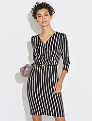 cheap -Women's Chic & Modern Sheath Dress - Stripe V Neck
