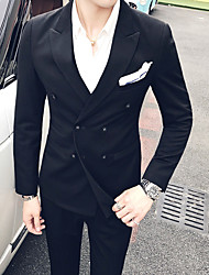cheap -Men's Daily Casual Winter Fall Suits,Solid Shirt Collar Long Sleeve Regular Polyester