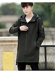 Pánské Jednobarevné Denní nošení Jednoduchý Kabát-Podzim Bavlna Akryl Jiné Kulatý Dlouhý rukáv Dlouhé