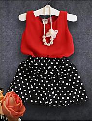 preiswerte -Mädchen Kleidungs Set Punkt Baumwolle Polyester Sommer Ärmellos Einfach Rote