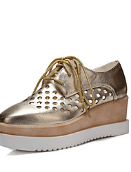 cheap -Women's Shoes Wedge Heel Square Toe Oxfords Office & Career/Dress/Casual Black/Pink/White/Silver/Rose Gold