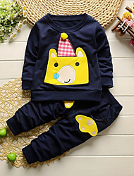 cheap -Boys' Daily Going out Print Cartoon Clothing Set,Cotton Acrylic All Seasons Long Sleeve Cute Casual Active Blushing Pink Navy Blue Light